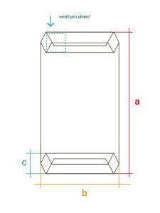 Nákres ventilového papírového pytle